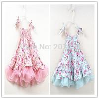 Hu sunshine wholesale new 2014 summer girls flower print pink blue floral dress