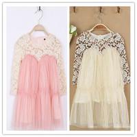 Hu sunshine wholesale 2014 autumn fall girls lace patchwork pink beige dress