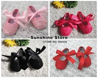 Sunshine store #2B1923  6 pair/lot(4 color)infant BABY lace shoe embroider!antiskid Ballerina Crib Soft Sole walker sandals CPAM