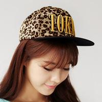 Korean version of the influx of women Dongkuan tokyo thick woolen leopard flat along the hip-hop baseball cap Benn