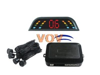 Free shipping!Car wireless led parking sensor Auto Reverse Backup Radar Detector System + 4 rader NO.303-W