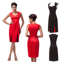 2015 Sexy Black/Red Women Short Vestidos 50s 60s Retro Vintage Rockabilly Swing Pinup Evening Prom Bodycon Party Dress CL4591