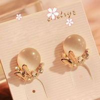 Min Order $5 (Mix Order) 2014 Fashion Jewelry 18K Gold Plated Butterfly Earrings Round Cat Eye Stone Earring