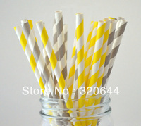 50 Yellow and Gray Paper Straws,GRAY & Yellow Paper Straws Gray STRIPE Paper Straws,Yellow and Gray Weddings,Yellow Baby Shower