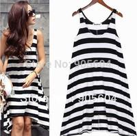 Promotions!Fashion Designer Summer Women's Striped Sundress Asymmetric Hem Comfy Vest Long Beach Dress Ladies Girls Skirts