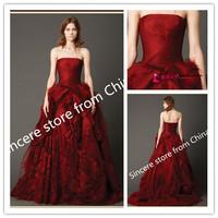 2014 Gossip.H All sizes Personal custom  Princess weding dress New arrival red dress Legant lace tea length vestidos de novia