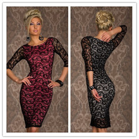Free shipping +Siren Paisley Lace Midi Dress  LC6142