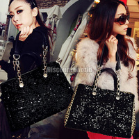 Fashion New Womens Ladies Bling Shining Sequins Leopard Chain Tote Handbag Shoulder Bag Black Leopard Free Shipping