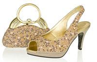 Free shipping!Designer lady Italian shoes and matching bag set with rhinestone,light coffee wedding high heel pump,SB8786