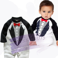 Free shipping Retail, Baby Romper ,new baby boys gentleman romper kids long sleeve jumpsuits infants wear cotton clothes