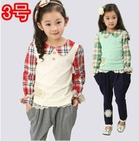 New 2014 style spring children'sclothing sets cotton bow style sub girl kids jackets & coats pants suit retail