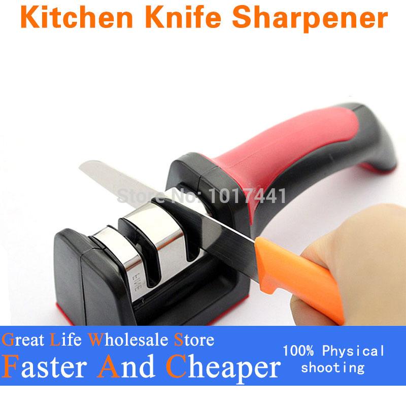 HOT SALE Two Stages (Diamond & Ceramic) Kitchen Knife Sharpener ,Sharpening Stone Household Knife Sharpener Kitchen Knives Tools(China (Mainland))