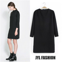 JYL FASHION 2014 Spring/Summer New arrival Modern fashion pure black designer dress for women,long sleeve woman elegant dress