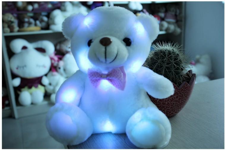 grosse peluche ours peluche blanc être endormi 20cm cadeau clignotant 16 5seconde enregistrementalarme animaux en peluche