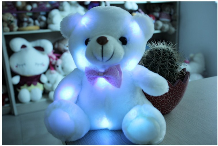 Big Plush be sleepy Bear Soft Toy White 20CM Gift Flashing 16 Seconds Recording Stuffed Animals(China (Mainland))