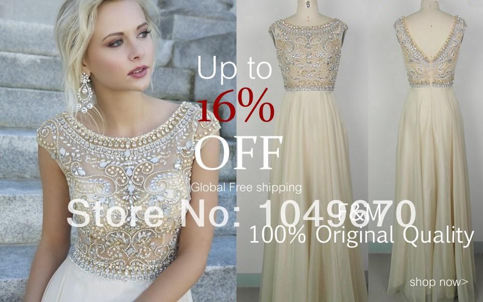 New Trend 2014 Jewel Crystal Prom Dresses With Cap Sleeves Chiffon vestidos de fiesta Floor Length V-back Evening Dress N219(China (Mainland))