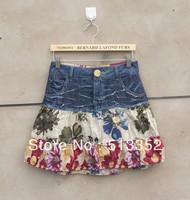 Free shipping  Desigual women's print patchwork 100% cotton short skirt bust skirts