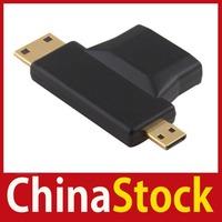 [ChinaStock] New HDMI Female to Mini Micro HDMI Male V1.4 90 Degree 2 in 1 Convertor Adapter wholesale