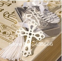 Metal Cross Bookmark with a Gorgeous White Silk Tassel CREATIVE WEDDING GIFT
