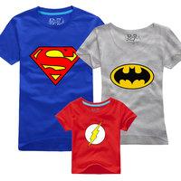 FREE SHIPPING three-piece Summer family fashion super man short-sleeve t-shirt family set