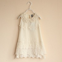 2014 Summer fashion pearl girl dress brand girl's dresses with lace design kids clothes children clothing