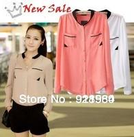 new popular Chiffon blouse women shirt/color block V-collar office ladies tops/camisas femininas mujer ropa blusas de gasa/WTE