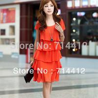 Women's plus size plus size dress short-sleeve chiffon layered dress women's  L XL XXL 3XL 4XL Blue Orange Black