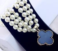 Fashion Sparkle Black  Four Leaf Clover Shell Pendant Necklace Women Double Side