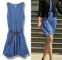 New Princess Kate Elegant Pleated Belt Chiffon Dress Women Sleeveless Dress Blue