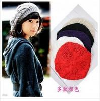Free Shipping Hot Sale 100% Handmade Women's Warm Winter Beret Braided Baggy Beanies Crochet Hat Ski Cap 7 Colors  JP122103