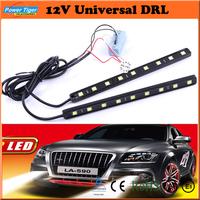 Car External Lights 5050SMD 2*9 Leds 12V  Waterproof Universal DRL White Car Daytime Running Lights/Fog Lamps Amber (LA-580)