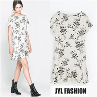 JYL FASHION 2014 Spring/Summer New simple design leaf and flower pattern printed dresses women,mini pleat skirt fitted dresses