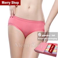 6 pcs/lot 2014 New Women Cotton Briefs Ladies Lace Panties Women Sexy Briefs Boxed Women Briefs Cotton Underwear