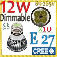 Free shipping 10 pcs Dimmable Cree E27 MR16 GU10 B22 E14 GU5.3 12W 9W high power Led downlight spotlight lamp bulb LED light
