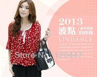new 2014 spring brand M L XL XXL 3XL 4XL print shirt  women blouse girl dress elegant casual dress retail wholesale free ship