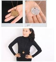 Sakura's Store N4050 New design retro love words round coin necklace sweater chain, Alloy necklace