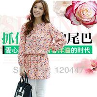 new 2014 spring brand plus size L XL XXL3XL cotton feel print dress women  elegant casual dresses retail whole sale free ship