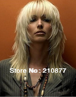 free shipping 2013 New Arrivals Long Blonde wig  Medium Choppy Layered Sexy Blonde Straight  women hair wig