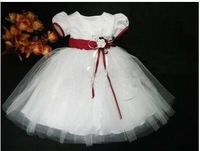 new style children 2014 summer fashion beautiful  kids girls party tutu dresses for wedding lace short sleeve clothes