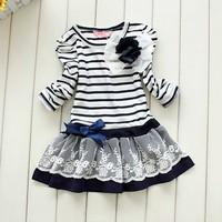 Free shipping 2014 Hot SALE Girls princess dress Children Striped  Dance Dresses  Retail Top Quality