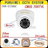 """100% Original 1/4"""" CMOS 700TVL 24leds 960H IR 15M white Metal CCTV Outdoor/indoor Dome camera. Free shipment."""