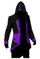 Assassins Creed III Connor/Conner Kenway Hoodie CosplayCostume Jacket Coat Black Purple  (only coat)