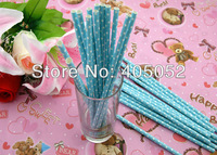Wholesale 500pcs Wedding Birthday Party  Supplies Colorful Paper Drinking Straws With Sky Blue Small White Polka Dot 100.XB2905