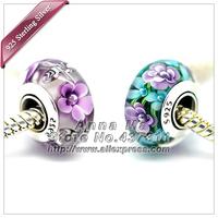 2pcs S925 Sterling Silver Different colors Murano Glass Beads Fit European pandora Charm Bracelets necklaces & Pendant 244-211