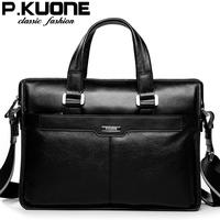P.Kuone 2015 luxury men brand handbag shoulder bags men briefcase laptop business designer handbags genuine leather travel bag