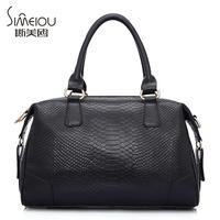 Autumn and winter women's cowhide handbag women's lather-bag one shoulder cross-body serpentine pattern leather bag big bag