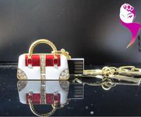 Gifted creative u disk genuine special crystal handbag keychain personalized small mini cute boys and girlspen drive  usb flash