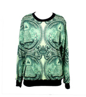 "2014 New Arrival Women's hoodies ""Black Milk"" US Dollar Printed Galaxy Jumper hoody Sweatshirts Jackets Free Shipping"