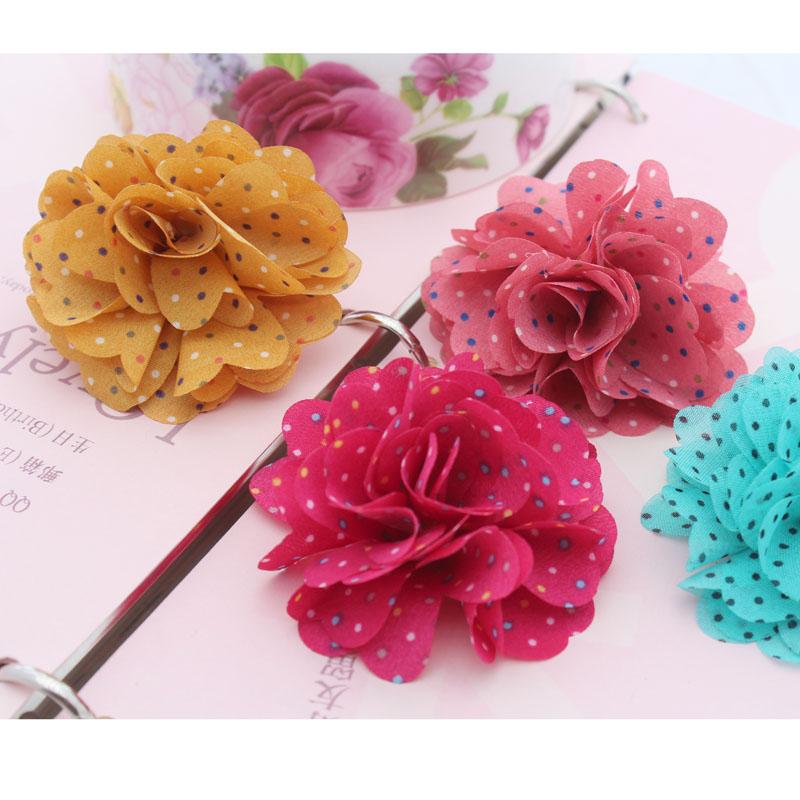 Misture Min 15 $ cerca de 6,5 centímetros DIY handmade flor chiffon sapatos roupas acessórios de cabelo 6colors flor de tecido escolhidos(China (Mainland))