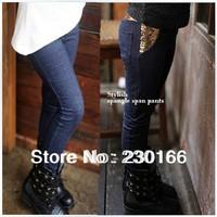 New 2014 Spring / Autumn Kids Girls Leggings Pants Child Cotton Jean Leggings Baby Girls Pants Free Shipping 100-140cm K2014010